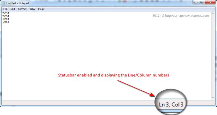Notepad - Status-bar enabled